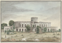 Ruins of the old palace of the French Governors, Ghireti, Chandernagore (Bengal). January 1820